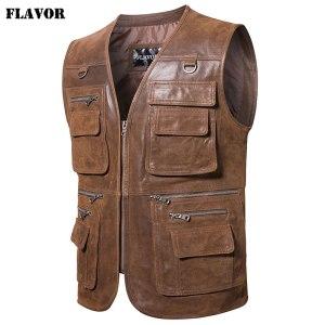 FLAVOR New Men s Real Leather Vest Men s Motorcycle Fishing Outdoor Travel Vests Innrech Market.com