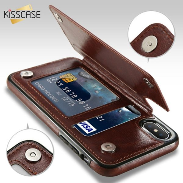 KISSCASE Retro PU Leather Case For iPhone X 6 6s 7 8 Plus XS 5S Multi KISSCASE Retro PU Leather Case For iPhone X 6 6s 7 8 Plus XS 5S Multi Card Holder Phone Cases For iPhone XS XR 11 Pro Max Cover