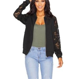 Lace Sleeve Women Basic Coats Long Sleeve Lace Patchwork Transparent Zipper Casual Slim Jacket Coat Bomber Innrech Market.com