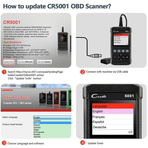 Launch X431 CR5001 OBD2 Scanner Engine Code Reader ODB2 Car Diagnostic Tool Free Update Support full 4 Launch X431 CR5001 OBD2 Scanner Engine Code Reader ODB2 Car Diagnostic Tool Free Update Support full OBD2 Automotive Scanner