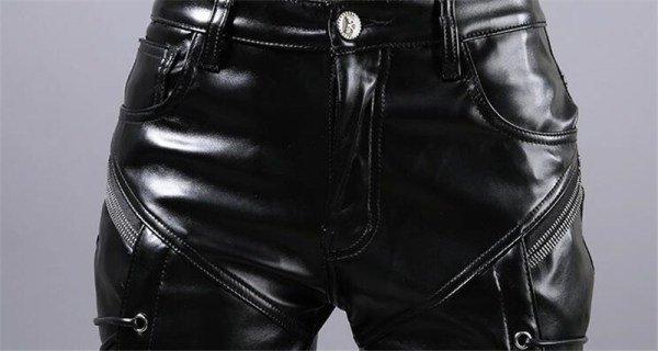 MORUANCLE New Winter Mens Skinny Biker Leather Pants Fashion Faux Leather Motorcycle Trousers For Male Stage 4 MORUANCLE New Winter Mens Skinny Biker Leather Pants Fashion Faux Leather Motorcycle Trousers For Male Stage Club Wear