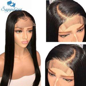 Sapphire Straight Hair Brazilian Lace Wig 4 4 Lace Closure Wig Human Hair Wigs Straight Preplucked Innrech Market.com