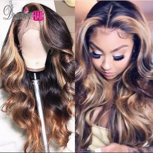 13x6 Part Brazilian Lace Front Human Hair Wavy Wig With Baby Hair Ombre Blonde Highlights Color Innrech Market.com