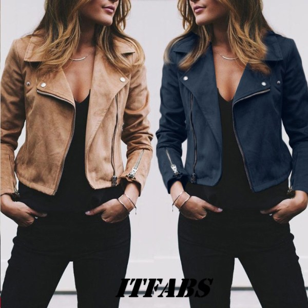 Coat women Ladies Suede Leather Jackets Zip Up Biker Female Casual Coats Woman Flight Coat Coat women Ladies Suede Leather Jackets Zip Up Biker Female Casual Coats Woman Flight Coat