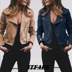Coat women Ladies Suede Leather Jackets Zip Up Biker Female Casual Coats Woman Flight Coat Innrech Market.com