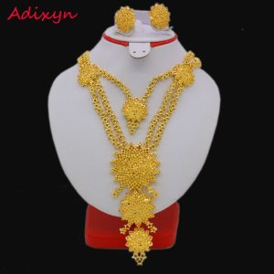 Fashion 60cm 23 6inch Necklace Earrings Jewelry Sets For Women Gold Color Arab Ethiopian Jewelry Innrech Market.com