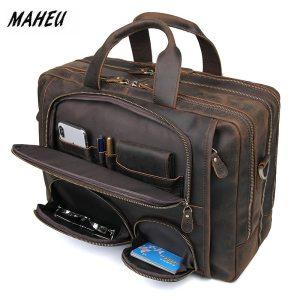 MAHEU Vintage Leather Mens Briefcase With Pockets Cowhide Bag On Business Suitcase Crazy Horse Leather Laptop Innrech Market.com