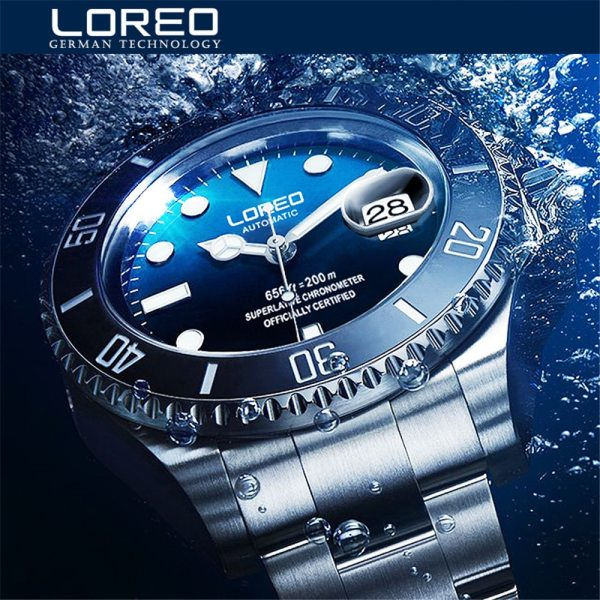 New LOREO Water Ghost Series Classic Blue Dial Luxury Men Automatic Watches Stainless Steel 200m Waterproof New LOREO Water Ghost Series Classic Blue Dial Luxury Men Automatic Watches Stainless Steel 200m Waterproof Mechanical Watch