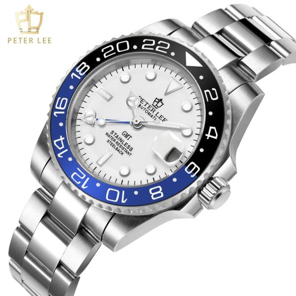 PETER LEE brand ceramic bezel luxury daydate gmt mechanical men watches noctilucous stainless steel men automatic PETER LEE Automatic Watch   Watchuseek   Brand Ceramic Bezel Luxury DayDate GMT 40mm Mechanical Men Watches noctilucous stainless steel men automatic gold watch