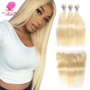 QUEEN BEAUTY 613 Blonde Straight Brazilian Hair Weave Human Hair Bundles with Closure 3PC Remy Hair Innrech Market.com