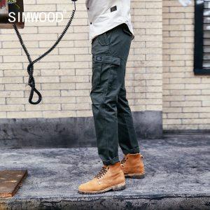 SIMWOOD New 2019 Casual Pants Men Fashion track Cargo Pants Ankle Length military autumn Trousers Men Innrech Market.com