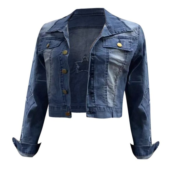 2019 Autumn And Winter Women Denim Jacket Vintage Cropped Short Denim Coat Long sleeve Slim Jeans 1 2019 Autumn And Winter Women Denim Jacket Vintage Cropped Short Denim Coat Long-sleeve Slim Jeans Coat For Women#J30