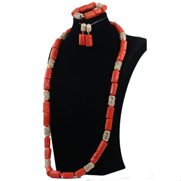 40 inches Big Real Coral Beads Bridal Necklace Set Fashion Men Coral Necklace Jewelry Set Groom 3 40 inches Big Real Coral Beads Bridal Necklace Set Fashion Men Coral Necklace Jewelry Set Groom African Jewelry Set CNR806