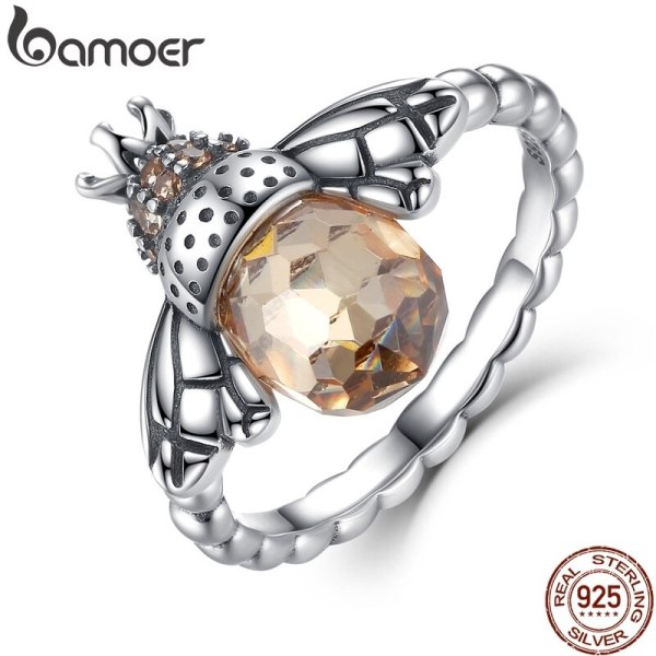 BAMOER 100 Authentic 925 Sterling Silver Orange Wing Animal Bee Finger Ring for Woman Sterling Silver BAMOER 100% Authentic 925 Sterling Silver Orange Wing Animal Bee Finger Ring for Woman Sterling Silver Jewelry Christmas SCR025