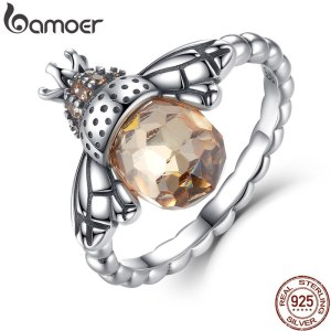 BAMOER 100 Authentic 925 Sterling Silver Orange Wing Animal Bee Finger Ring for Woman Sterling Silver Innrech Market.com