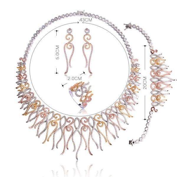 Dazz Flower Shape Choker Necklace Bracelet Earrings Ring Brass Three Tones Colors Sets Women Girls Wedding 1 Dazz Flower Shape Choker Necklace Bracelet Earrings Ring Brass Three Tones Colors Sets Women Girls Wedding Ornament Jewelry Set