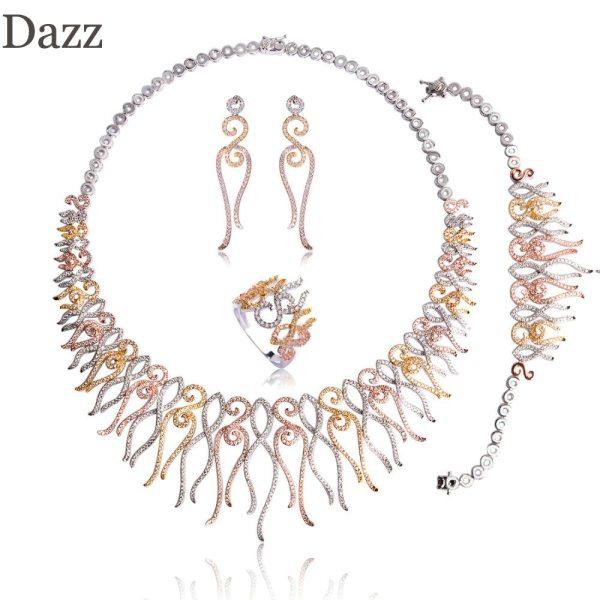 Dazz Flower Shape Choker Necklace Bracelet Earrings Ring Brass Three Tones Colors Sets Women Girls Wedding Dazz Flower Shape Choker Necklace Bracelet Earrings Ring Brass Three Tones Colors Sets Women Girls Wedding Ornament Jewelry Set