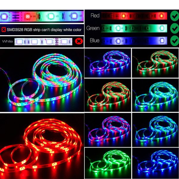 Led Strip Light 2835 SMD RGB Tape 5M 10M 15M 20M DC12V 3528 Flexible RGB LED 4 Led Strip Light 2835 SMD RGB Tape 5M 10M 15M 20M DC12V 3528 Flexible RGB LED Stripe Ribbon Diode +24Key Controller+ Adapter EU