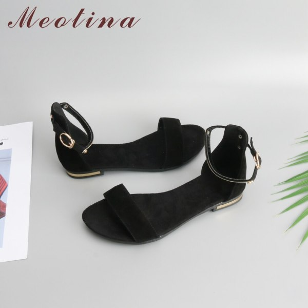 Meotina Genuine Leather Women Sandals Chunky Heels Summer Shoes 2019 Peep Toe Suede Shoes Black Buckle 3 Meotina Genuine Leather Women Sandals Chunky Heels Summer Shoes 2019 Peep Toe Suede Shoes Black Buckle Bling Big Size 33-46 11