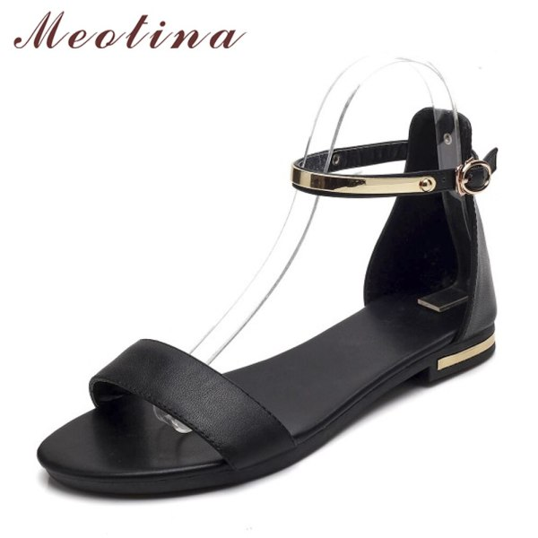 Meotina Genuine Leather Women Sandals Chunky Heels Summer Shoes 2019 Peep Toe Suede Shoes Black Buckle 4 Meotina Genuine Leather Women Sandals Chunky Heels Summer Shoes 2019 Peep Toe Suede Shoes Black Buckle Bling Big Size 33-46 11