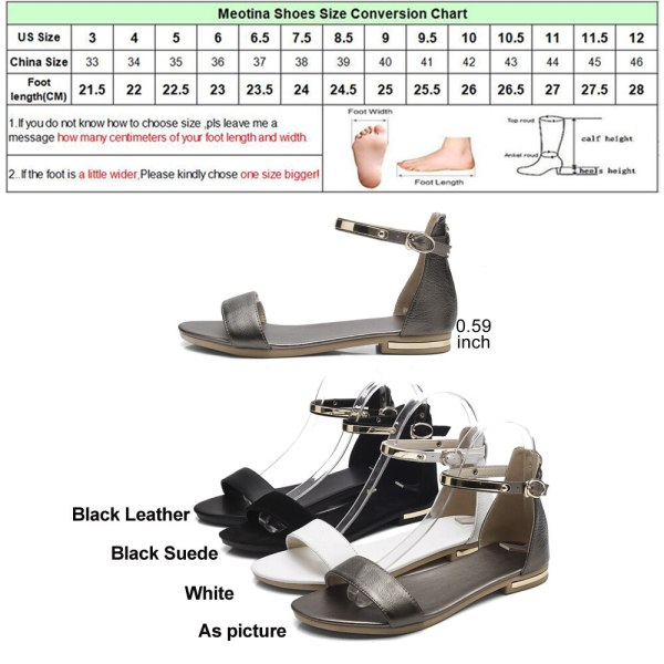 Meotina Genuine Leather Women Sandals Chunky Heels Summer Shoes 2019 Peep Toe Suede Shoes Black Buckle 5 Meotina Genuine Leather Women Sandals Chunky Heels Summer Shoes 2019 Peep Toe Suede Shoes Black Buckle Bling Big Size 33-46 11