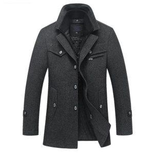 New Winter Wool Coat Slim Fit Jackets Mens Casual Warm Outerwear Jacket and coat Men Pea Innrech Market.com