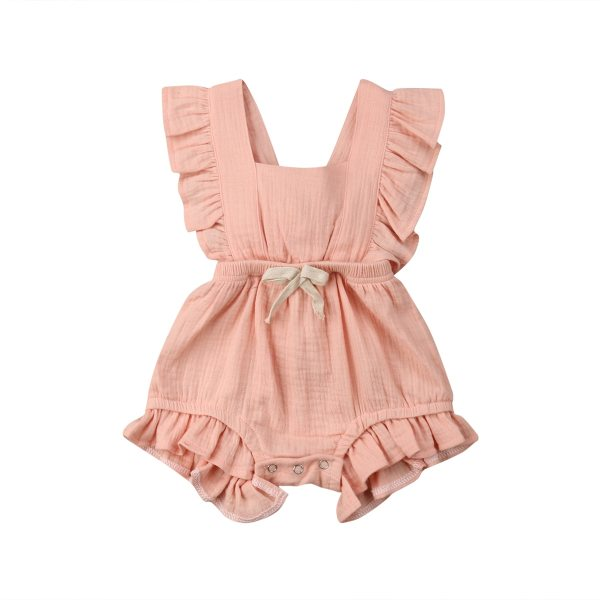 Newborn Baby Girls Ruffle Solid Color Romper Backcross Jumpsuit Outfits Sunsuit Baby Clothing 2 Newborn Baby Girls Ruffle Solid Color Romper Backcross Jumpsuit Outfits Sunsuit Baby Clothing