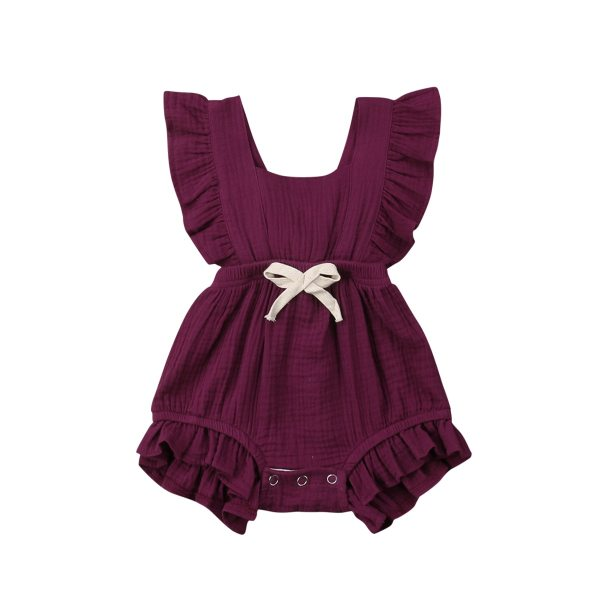 Newborn Baby Girls Ruffle Solid Color Romper Backcross Jumpsuit Outfits Sunsuit Baby Clothing 5 Newborn Baby Girls Ruffle Solid Color Romper Backcross Jumpsuit Outfits Sunsuit Baby Clothing