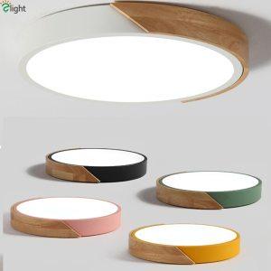 Nordic Oak App Dimmable Led Ceiling Lights Living Room Round Multicolor Alloy Led Ceiling Lamp Bedroom Innrech Market.com