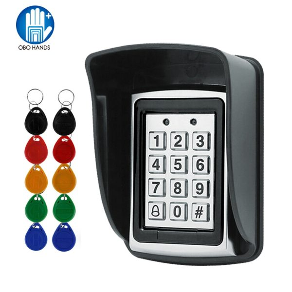 RFID Metal Access Control EM Card Reader Keypad with 10 EM4100 keyfobs waterproof protecter cover For RFID Metal Access Control EM Card Reader Keypad with 10 EM4100 keyfobs waterproof protecter cover For Door Access Control System