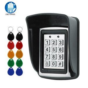 RFID Metal Access Control EM Card Reader Keypad with 10 EM4100 keyfobs waterproof protecter cover For Innrech Market.com