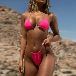 Transparent micro bikini 2019 Sexy thong swimsuit separate Bandeau Bikini Set Push Up Clear Strap Brazilian Innrech Market.com