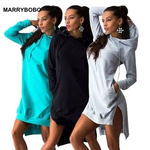 Women Slim Hoodie Dress 2019 Autumn Winter Long Sleeve Casual Dress Hooded Pockets Sportwear Female Fashion Innrech Market.com