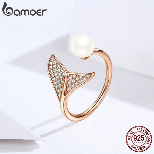 BAMOER Authentic 925 Sterling Silver Adjustable Dolphin Tail Blue CZ Finger Rings for Women Sterling Silver 3 BAMOER Authentic 925 Sterling Silver Adjustable Dolphin Tail Blue CZ Finger Rings for Women Sterling Silver Jewelry Gift SCR286
