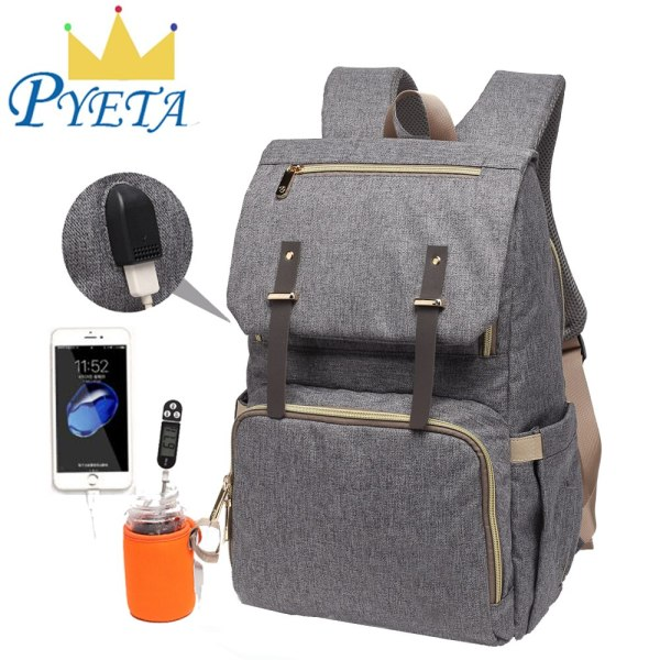 Baby Diaper Bag with USB Port Waterproof Nappy Bag Mommy Backpack Laptop Bag Maternity Bags With Baby Diaper Bag with USB Port Waterproof Nappy Bag Mommy Backpack Laptop Bag Maternity Bags With Rechargeable Bottle Holder