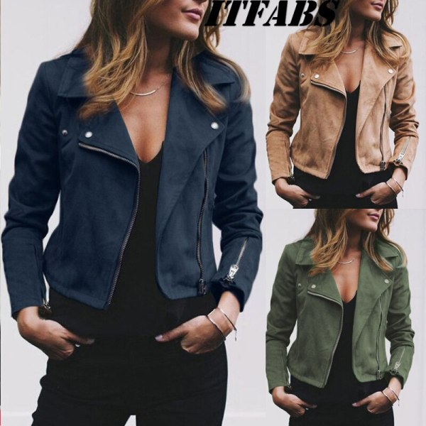 Coat women Ladies Suede Leather Jackets Zip Up Biker Female Casual Coats Woman Flight Coat 3 Coat women Ladies Suede Leather Jackets Zip Up Biker Female Casual Coats Woman Flight Coat