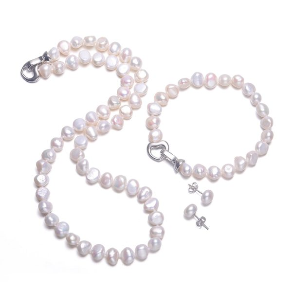 DAIMI Baroque Pearl Sets 8 9mm Freshwater Pearl Jewelry Sets For Women Party Jewelry Heart Clasp DAIMI Baroque Pearl Sets 8-9mm Freshwater Pearl Jewelry Sets For Women Party Jewelry Heart Clasp Can DIY to Long Necklace