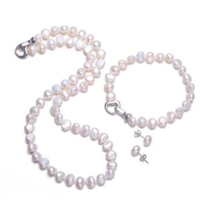 DAIMI Baroque Pearl Sets 8 9mm Freshwater Pearl Jewelry Sets For Women Party Jewelry Heart Clasp Innrech Market.com