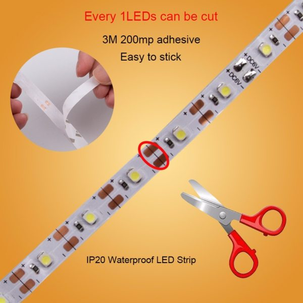 DC 5V LED Strip USB Cable Power Flexible Light Lamp 50CM 1M 2M 3M 4M 5M 3 DC 5V LED Strip USB Cable Power Flexible Light Lamp 50CM 1M 2M 3M 4M 5M SMD 2835 Mini 3Key Desk Decor TV Background Lighting