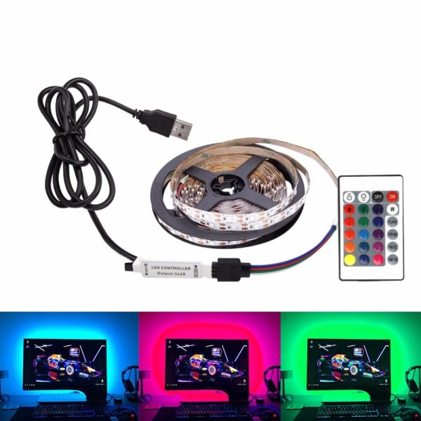 DC 5V LED Strip USB Cable Power Flexible Light Lamp 50CM 1M 2M 3M 4M 5M 5 DC 5V LED Strip USB Cable Power Flexible Light Lamp 50CM 1M 2M 3M 4M 5M SMD 2835 Mini 3Key Desk Decor TV Background Lighting