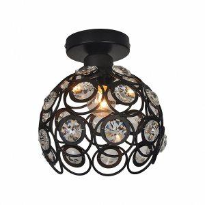 E27 black Creative crystal minimalist ceiling light Single wall ceiling lamp bedroom lamp Single European iron Innrech Market.com