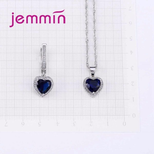 Hot Sale Heart Shape Bule Crystal 925 Sterling Silver Necklace And Earrings Set For Women Female 4 Hot Sale Heart Shape Bule Crystal 925 Sterling Silver Necklace And Earrings Set For Women Female Party Engagement