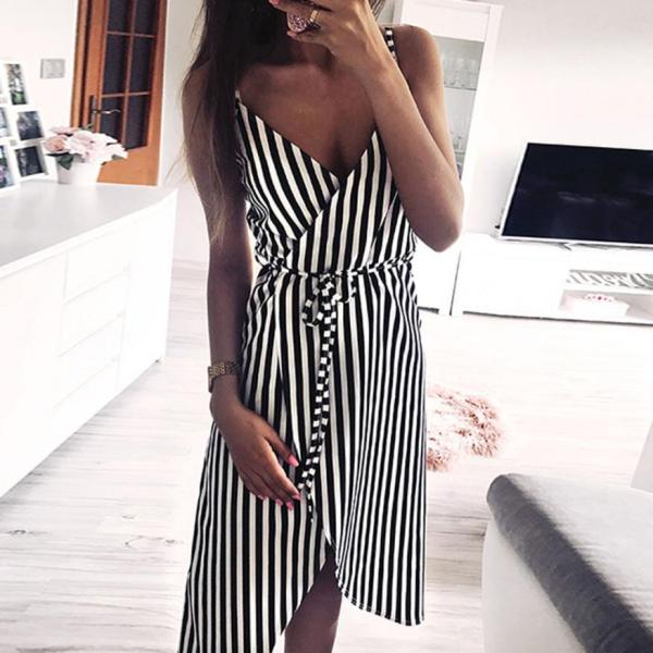KANCOOLD dress Women Stripe Printing Sleeveless Off Shoulder Dress Evening Party Vest Empire Sashes dress women 1 KANCOOLD dress Women Stripe Printing Sleeveless Off Shoulder Dress Evening Party Vest Empire Sashes dress women 2018AUG1
