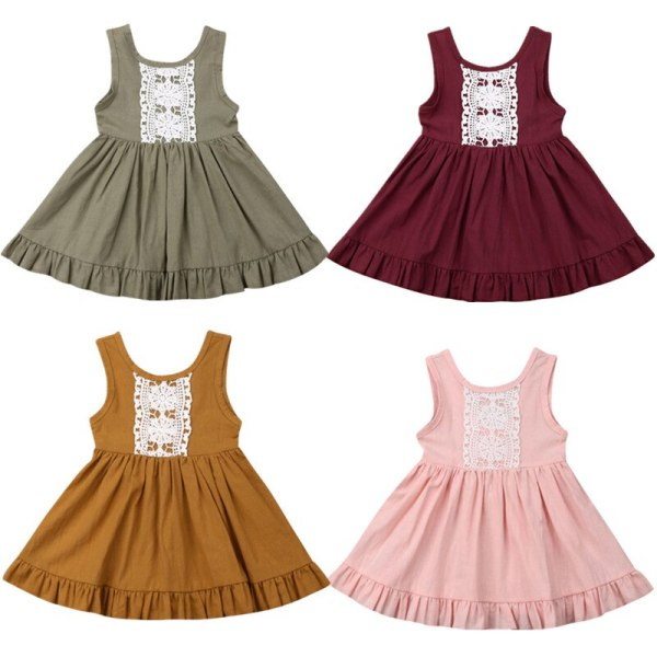 Kids Baby Girl Solid Summer Clothes Lace Romper Backless Button Jumpsuit Outfits Baby Clothing 1 Kids Baby Girl Solid  Summer Clothes Lace Romper Backless Button Jumpsuit Outfits Baby Clothing