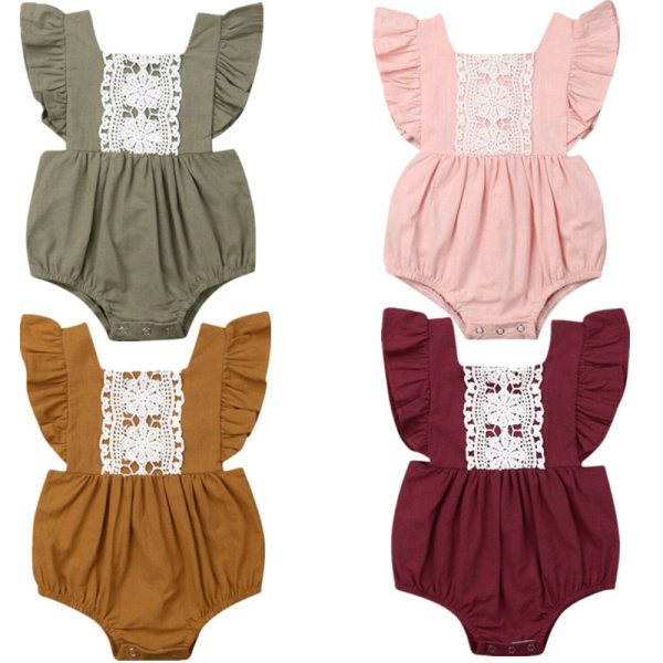 Kids Baby Girl Solid Summer Clothes Lace Romper Backless Button Jumpsuit Outfits Baby Clothing Kids Baby Girl Solid  Summer Clothes Lace Romper Backless Button Jumpsuit Outfits Baby Clothing
