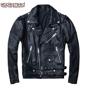 MAPLESTEED 100 Natural Sheepskin Tanned Leather Jacket Black Soft Men s Motocycle Jackets Motor Clothing Biker Innrech Market.com