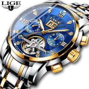 New LIGE Men Watches Male Top Brand Luxury Automatic Mechanical Watch Men Waterproof Full Steel Business Innrech Market.com