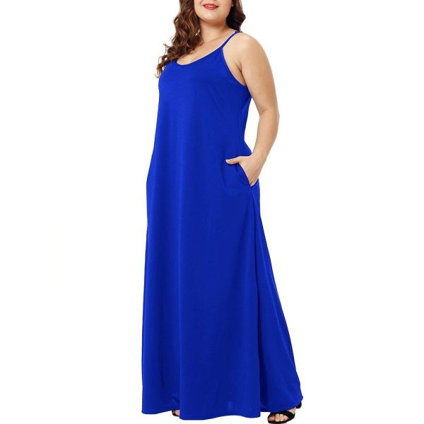 Plus Size Dress Women Summer Solid Maxi Dresses Sexy Spaghetti Straps Sleeveless Loose Long Dress With 1 Plus Size Dress Women Summer Solid Maxi Dresses Sexy Spaghetti Straps Sleeveless Loose Long Dress With Pockets Casual Vestidos