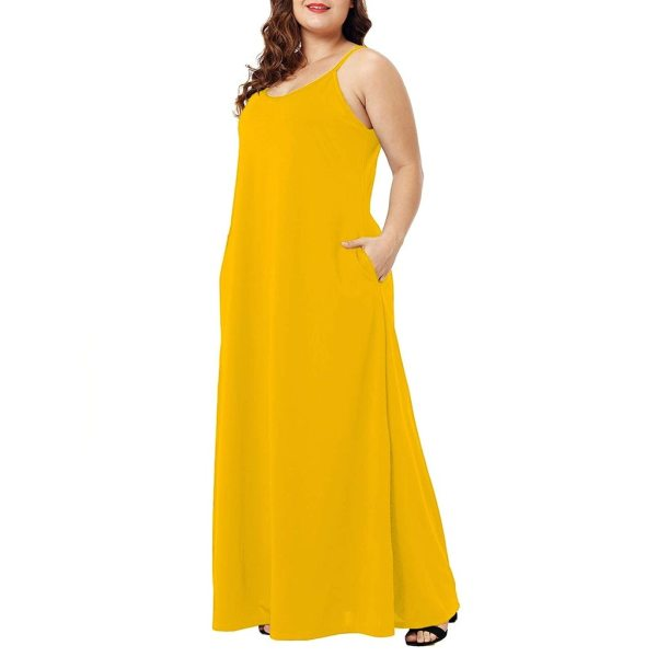 Plus Size Dress Women Summer Solid Maxi Dresses Sexy Spaghetti Straps Sleeveless Loose Long Dress With 2 Plus Size Dress Women Summer Solid Maxi Dresses Sexy Spaghetti Straps Sleeveless Loose Long Dress With Pockets Casual Vestidos