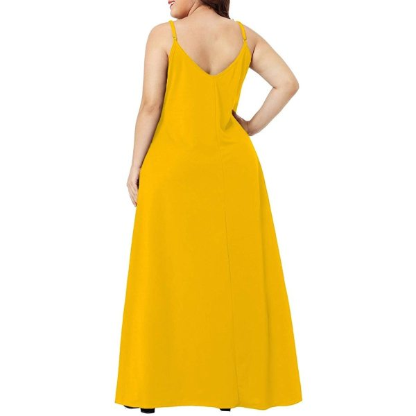 Plus Size Dress Women Summer Solid Maxi Dresses Sexy Spaghetti Straps Sleeveless Loose Long Dress With 3 Plus Size Dress Women Summer Solid Maxi Dresses Sexy Spaghetti Straps Sleeveless Loose Long Dress With Pockets Casual Vestidos